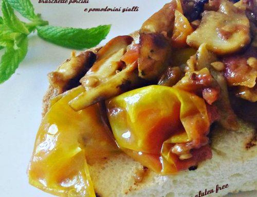 Bruschette porcini e pomodorini gialli