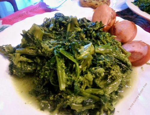 Broccoloni soffritti con wurstel tostati