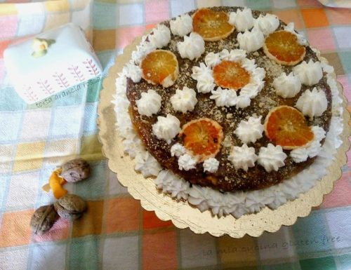 Torta con arancia rossa senza glutine e crumble alle noci