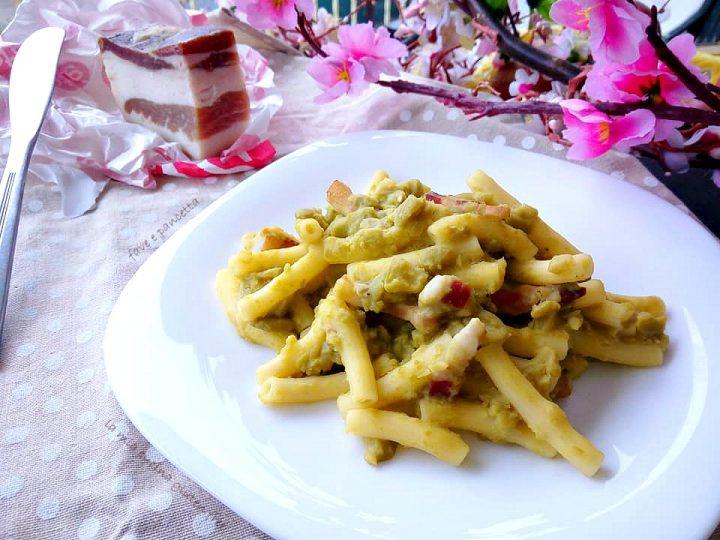 sedanini con purea di fave e pancetta senza glutine