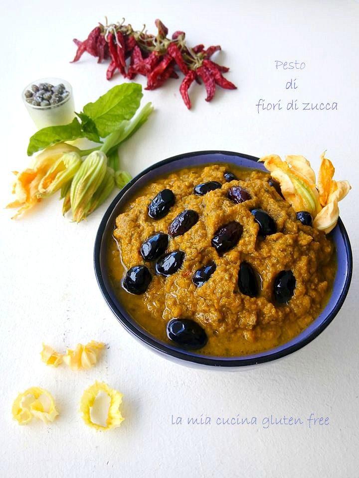pesto di fiori di zucca capperi e olive