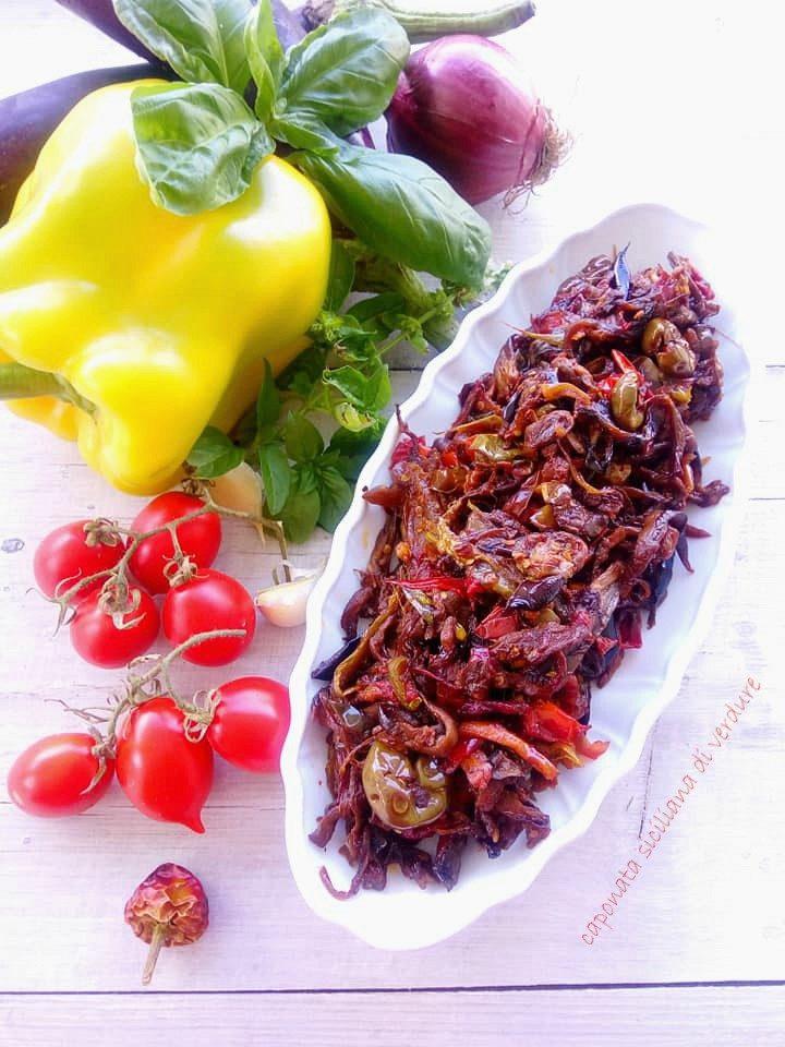 caponata siciliana di verdure in agrodolce
