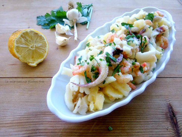 seppie e patate all'insalata con gamberetti