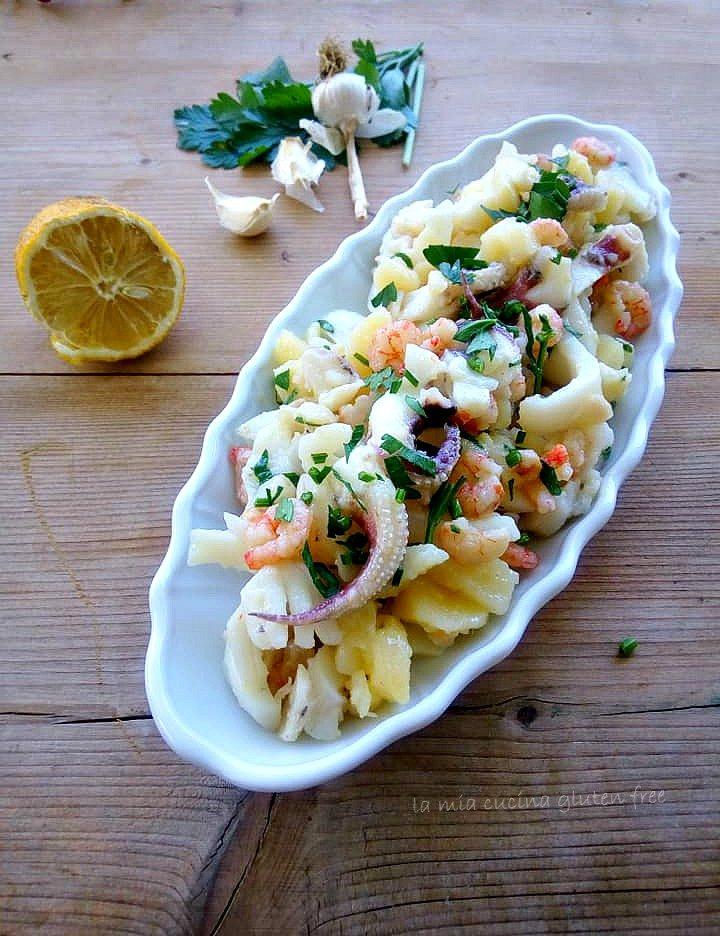 seppe e patate all'insalata con gamberetti e limone