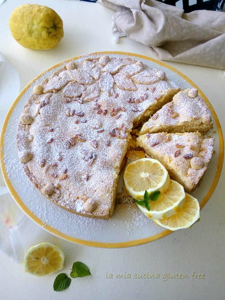 torta della nonna senza glutine con crema al limone e pinoli