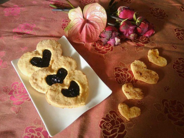 cuori di frolla senza glutine con confettura di ciliegie