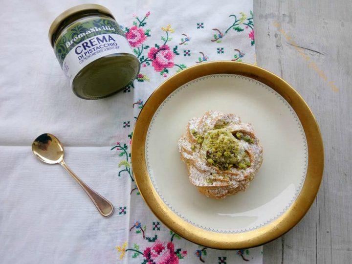 zeppola con crema di pistacchio di bronte senza glutine