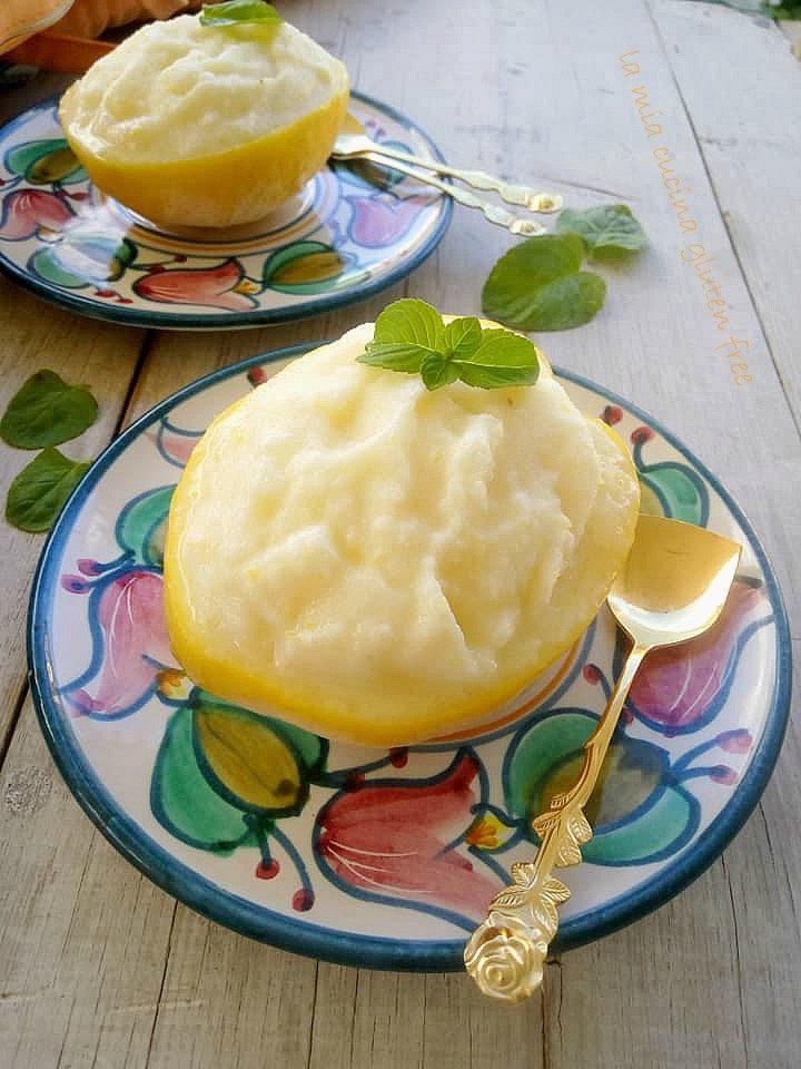 sorbetto al limone senza glutine e uova con latte