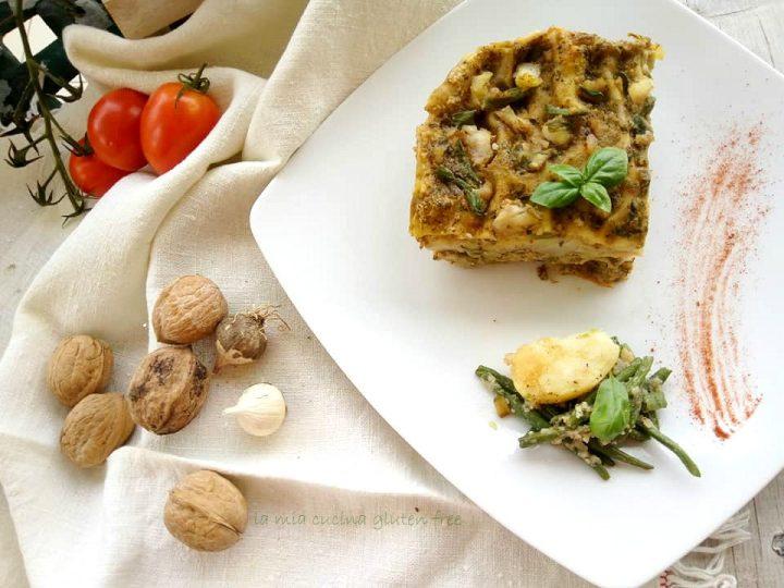 asagna al pesto con fagiolini e patate senza glutine