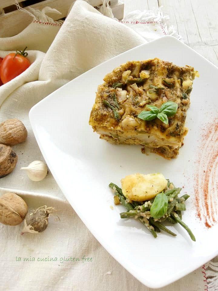 asagna al pesto con fagiolini e patate
