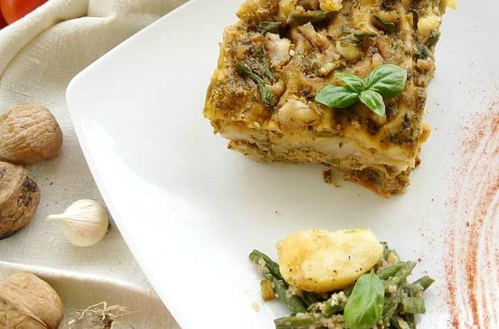 Lasagna al pesto con fagiolini e patate