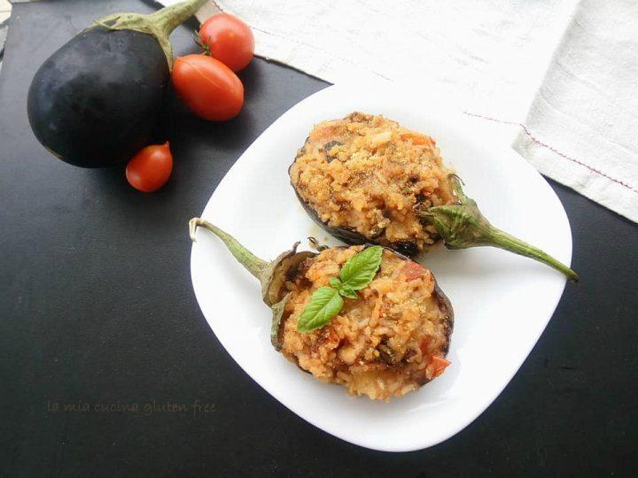 barchette di melanzane ripiene di riso e pomodorini