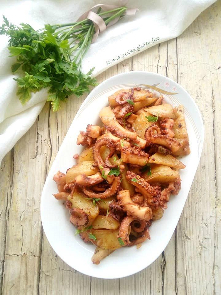 polpo caramellato con patate in agrodolce