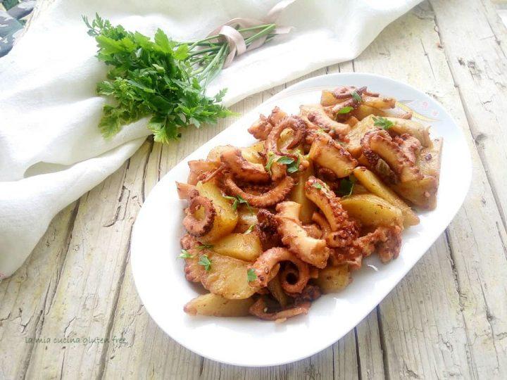 polpo caramellato con patate novelle in agrodolce