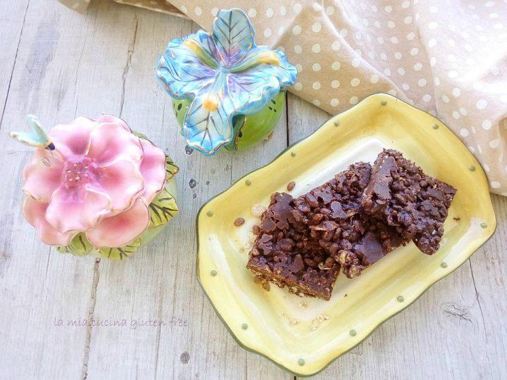 barrette di cereali senza glutine con cioccolato e riso