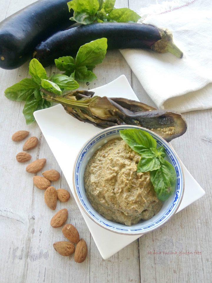 Pesto di melanzana e basilico con le mandorle
