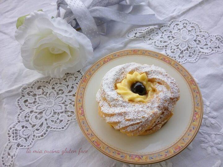 zeppola di san giuseppe al forno senza glutine con crema pasticcera