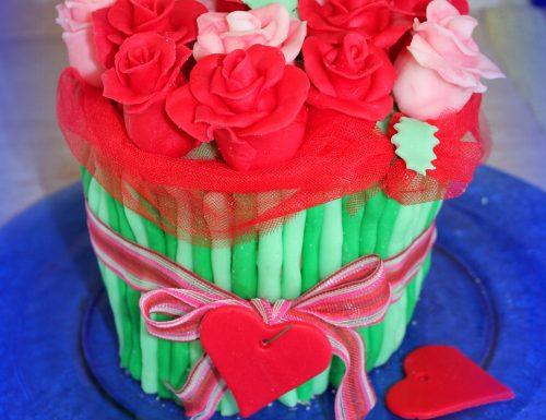 Torta bouquet di rose in pasta di zucchero