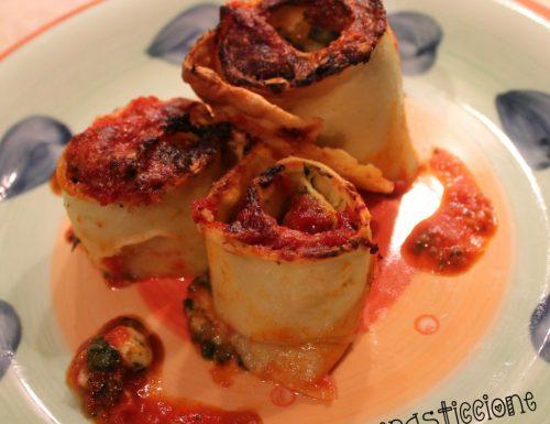 Rotolini di pasta fresca ripieni di zucca e spinaci