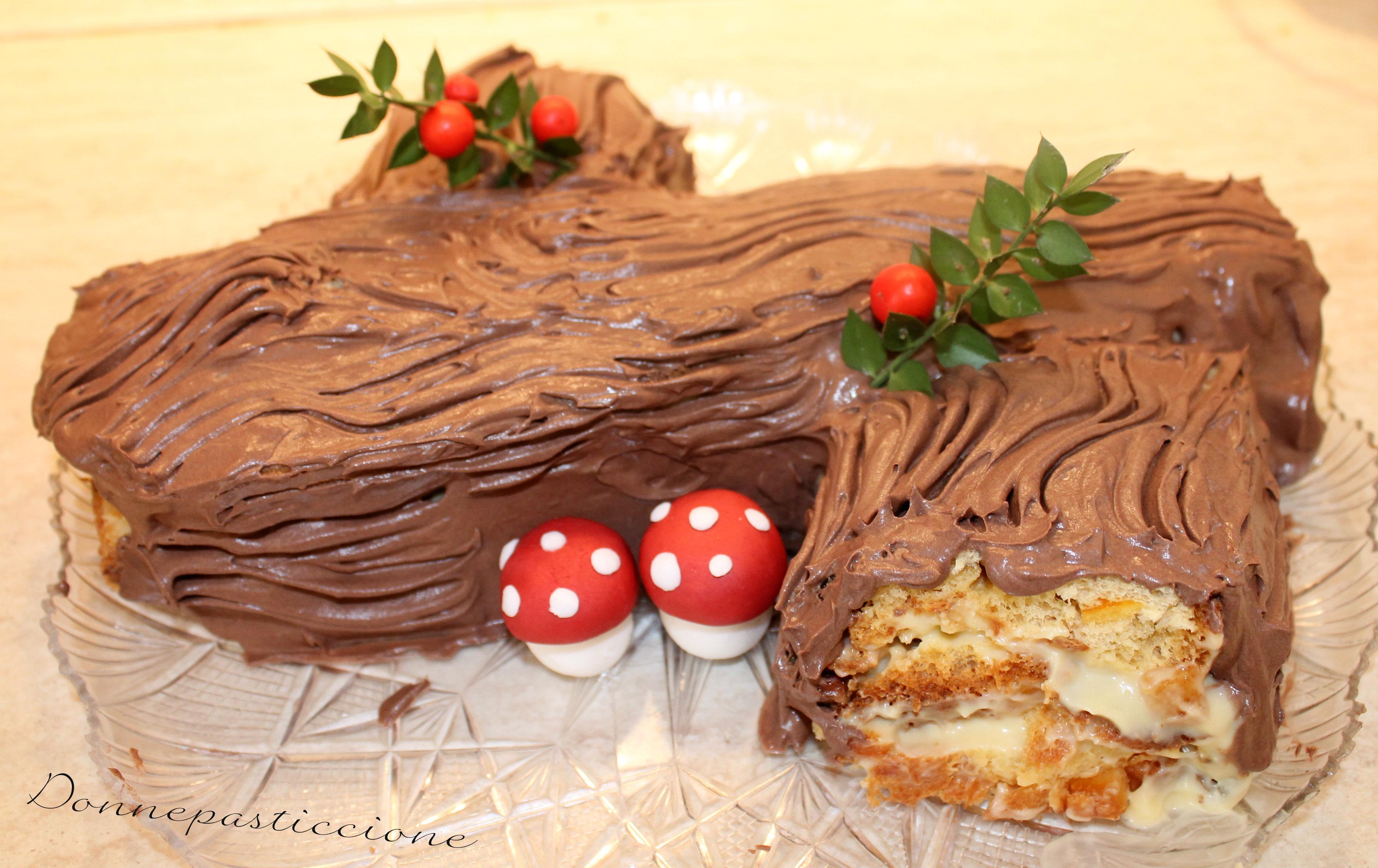 Ricetta Tronchetto Di Natale Con Panettone.Tronchetto Di Panettone E Crema Zabaione Donnepasticcione