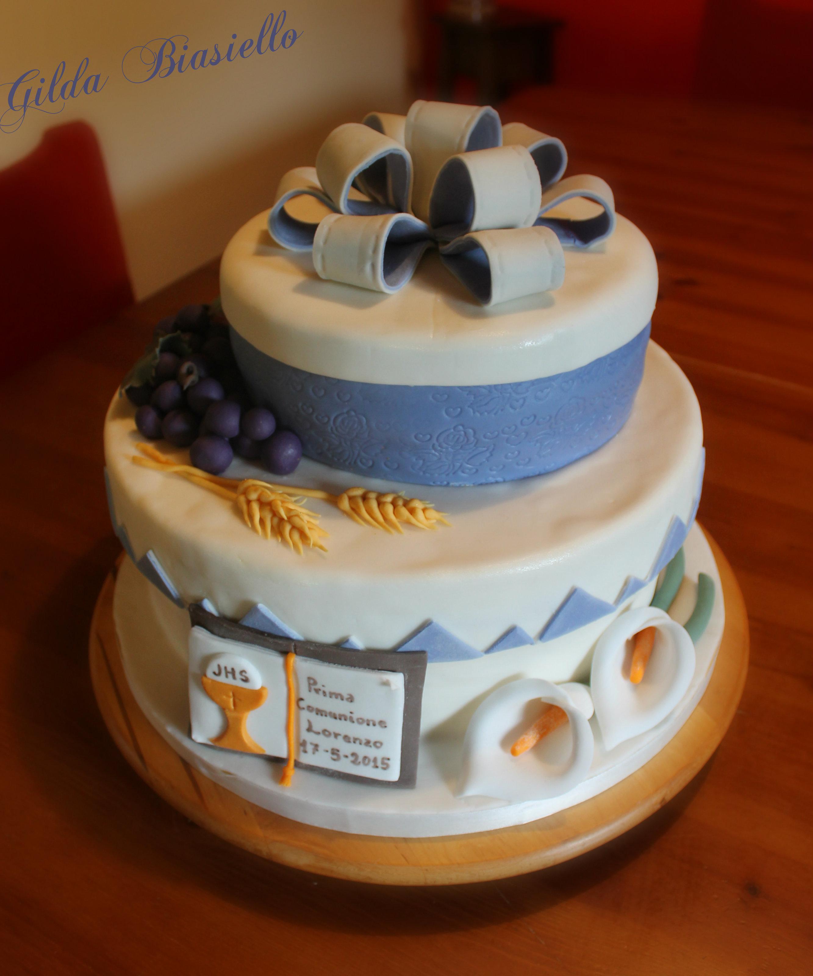 Favoloso Torta Prima Comunione in pasta di zucchero | donnepasticcione JW72