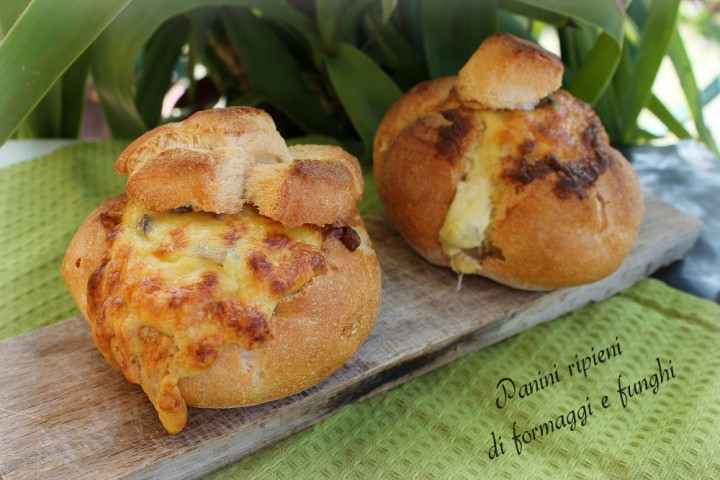 Panini ripieni di formaggi e funghi