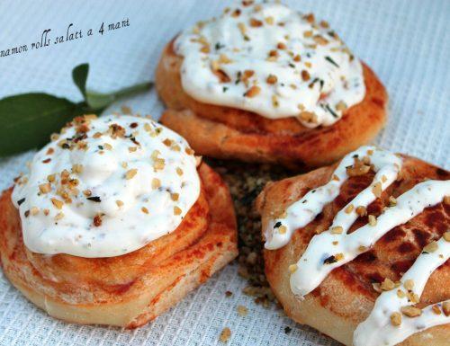 Cinnamon rolls salati a 4 mani