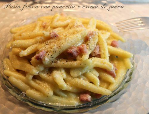Pasta fresca con pancetta e crema di zucca