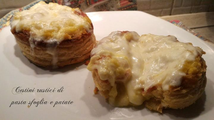 Cestini rustici di pasta sfoglia e patate