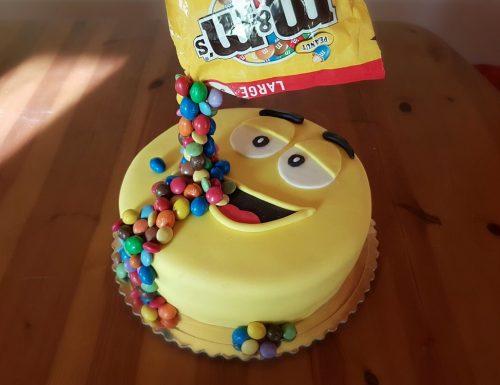 Gravity cake m & m's
