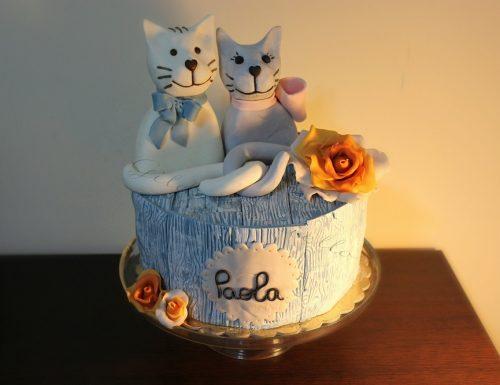 Torta coppia di gatti in stile shabby chic