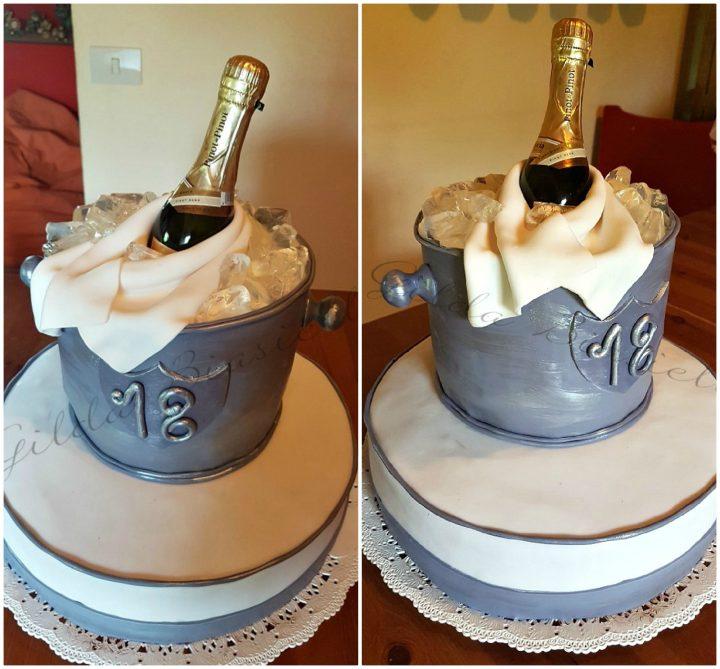 Torta Secchiello Per Champagne In Pasta Di Zucchero Donnepasticcione