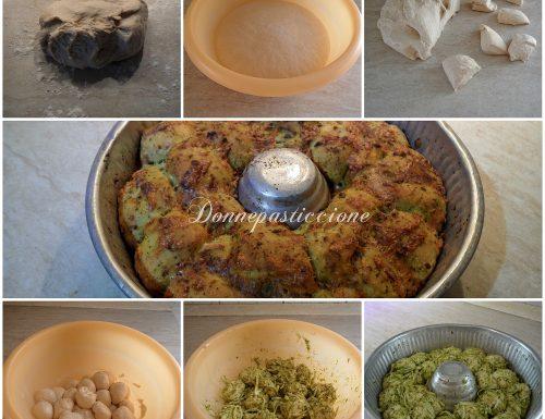 Ciambella lievitata al pesto e fontina