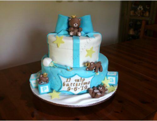 Torta battesimo teneri orsetti