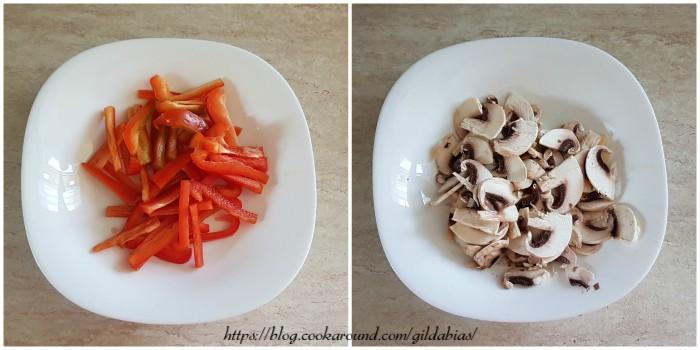 gamberi con peperoni e funghi