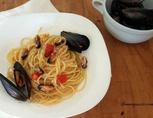 Spaghetti con le cozze risottati