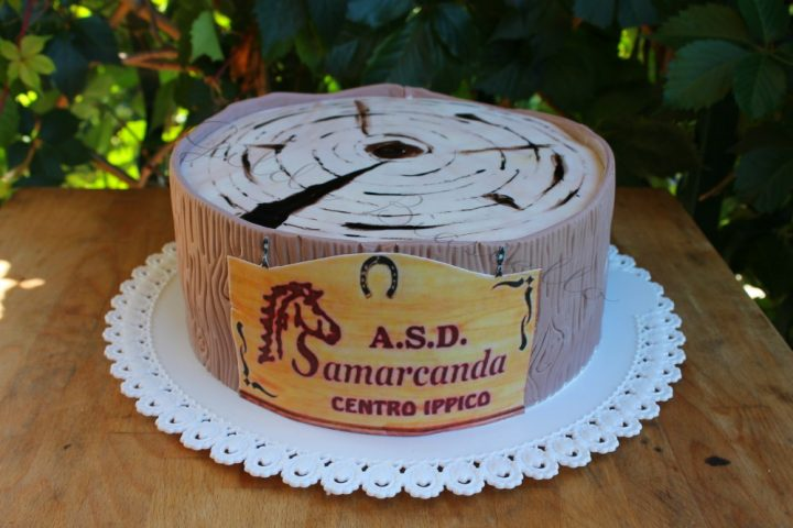 La torta tronco d'albero in pasta di zucchero è la riproduzione di una sezione di tronco d'albero, con tanto di corteccia e venature, al gusto tiramisù.