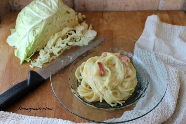 spaghetti alla crema di verza e pancetta croccante