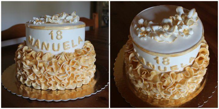 torta 18 anni bianca e oro con effetto ruffle