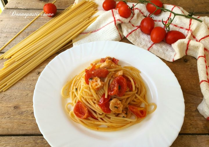 spaghetti con pesce spada e pomodorini