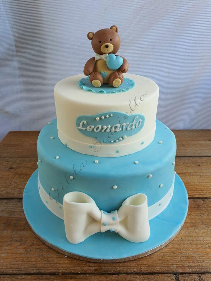torta battesimo bimbo con orsetto