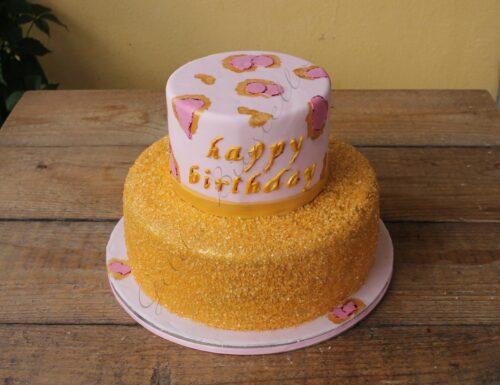 Torta leopardata rosa e oro in pasta di zucchero