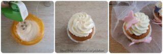 cupcake con frosting al formaggio e pasta di zucchero