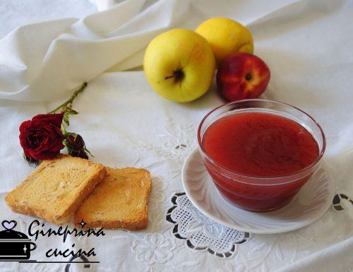 confettura di pesche, mele e petali di rose bimby