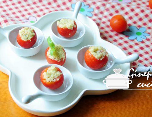 pomodorini ripieni di cous cous al gusto di basilico
