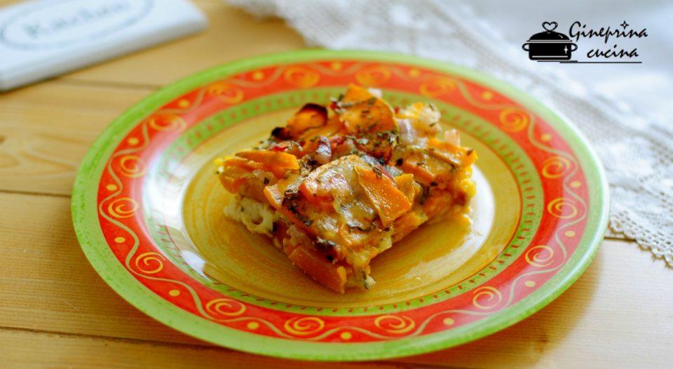 sfogliata di zucca con mozzarella e pancetta