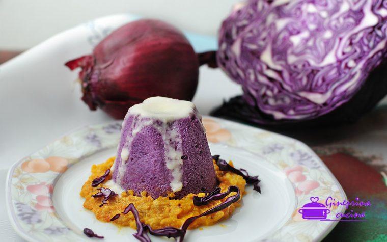 flan al cavolo cappuccio viola con salsa di zucca