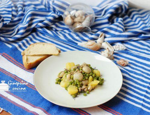 seppioline con patate e piselli in bianco