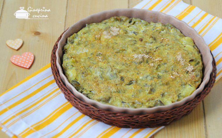 frittata di carciofi e patate cotta al forno
