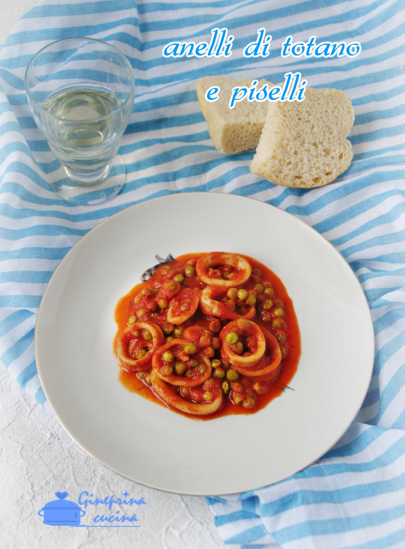 anelli di totano e piselli con salsa di pomodoro